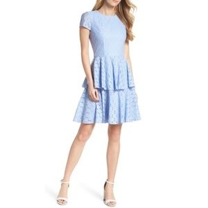 Gal Meets Glam Daisy Lace Pale Blue Lace Dress 16